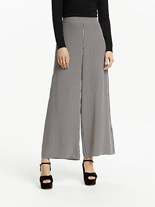 Somerset by Alice Temperley Stripe Wide Leg Trousers, Black