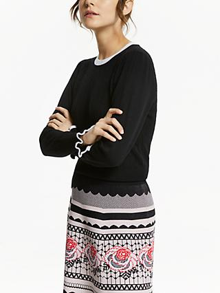 Somerset by Alice Temperley Ruffle Detail Cable Knit Jumper, Black