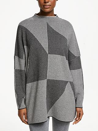 PATTERNITY + John Lewis Rituals Stripe Intarsia Jumper, Black/Grey