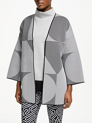 PATTERNITY + John Lewis Oversize Stripe Cardigan, Black/White