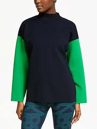 PATTERNITY + John Lewis Colour Block Jumper, Black/Navy/Green