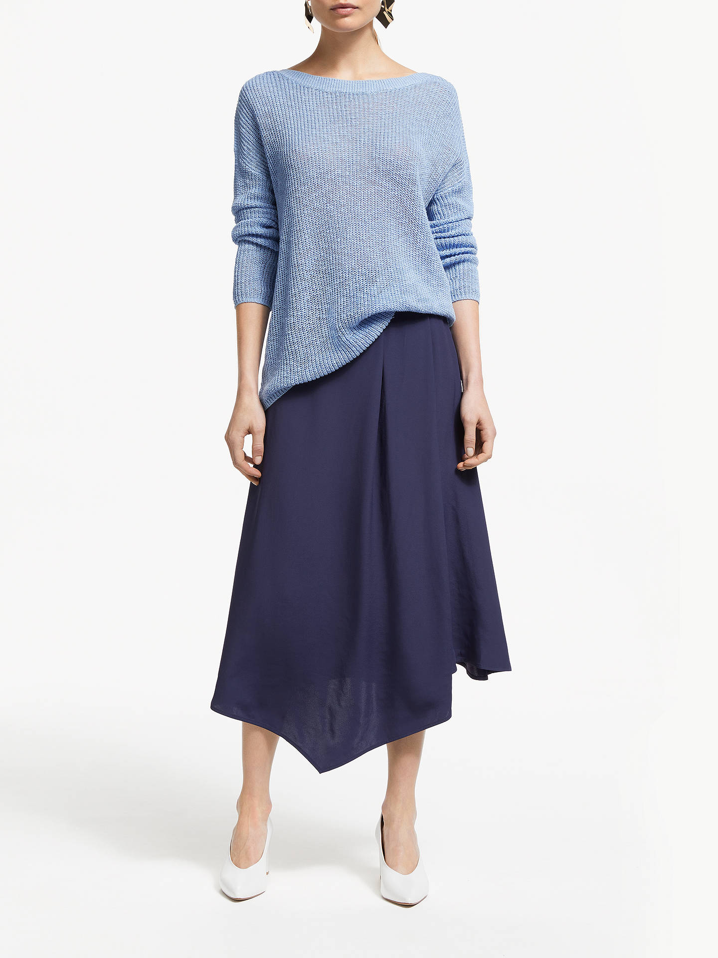 Buy John Lewis & Partners Asymmetric Fold Midi Skirt, Navy, 10 Online at johnlewis.com