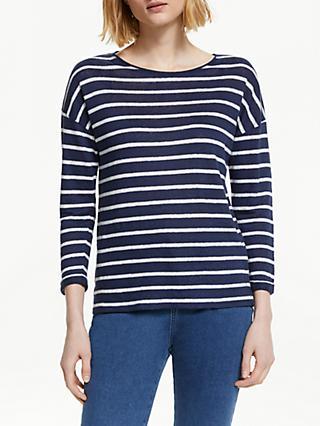 6a161823b06 John Lewis   Partners Long Sleeve Linen Stripe T-Shirt
