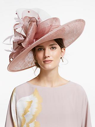Snoxells Sarah Quills and Loops Side Up Disc Occasion Hat, Rose