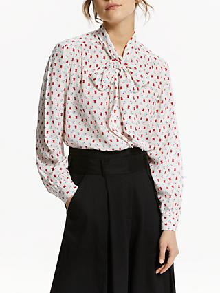 Somerset by Alice Temperley Tie Blouse, White Print