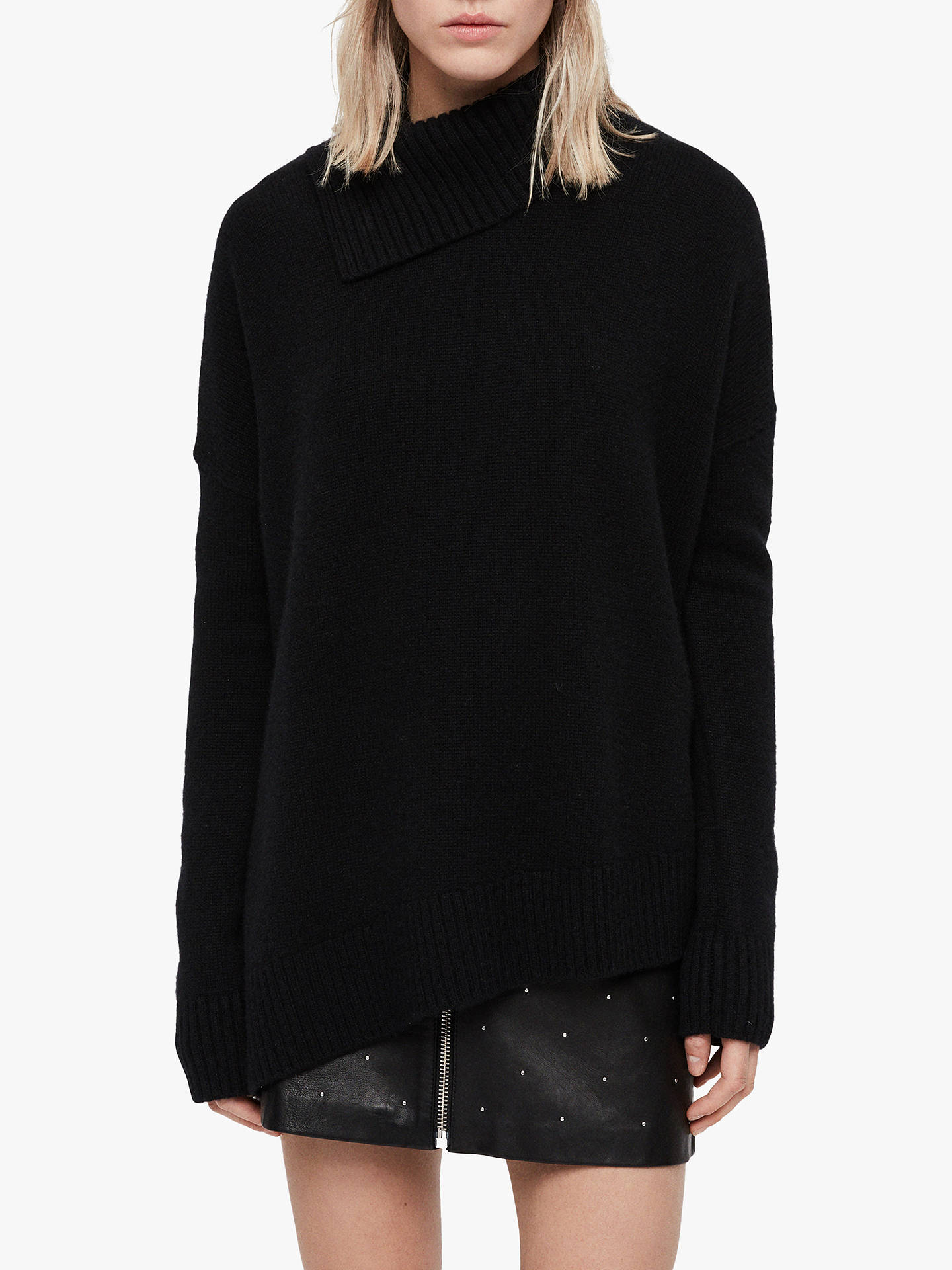 Buy AllSaints Witby Asymmetric Roll Neck Cashmere Jumper, Black, XS Online at johnlewis.com