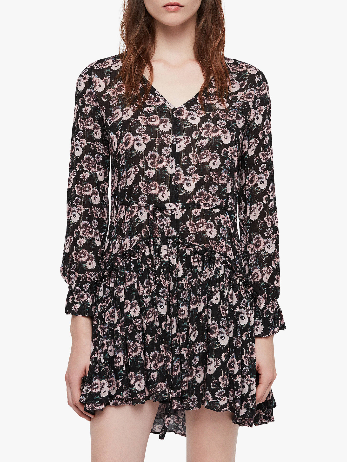 c297e9a9b54bc Buy AllSaints Alia Odile Dress, Black, L Online at johnlewis.com ...
