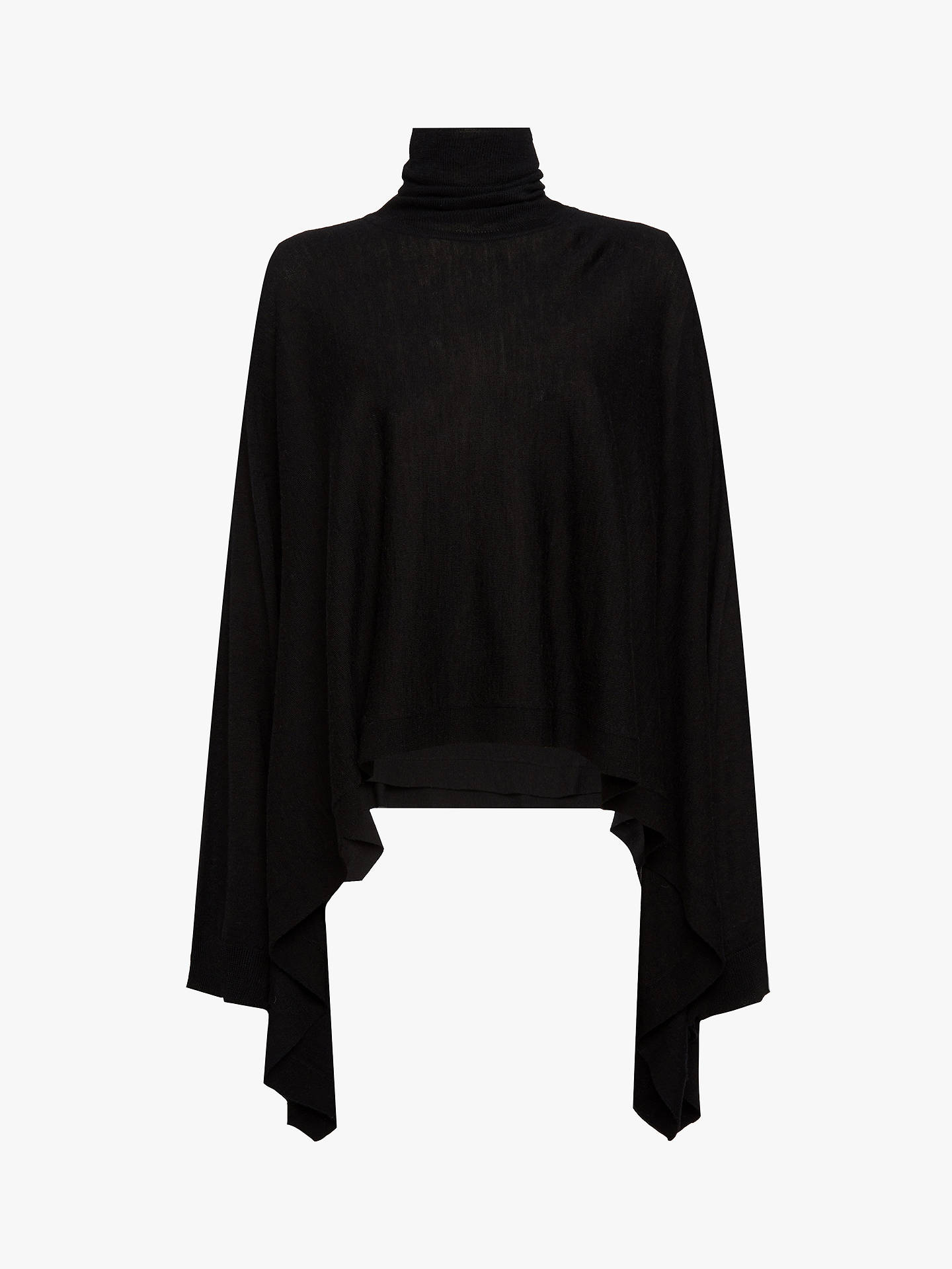 BuyAllSaints Tonia Roll Neck Wool Cape, Black, M/L Online at johnlewis.com