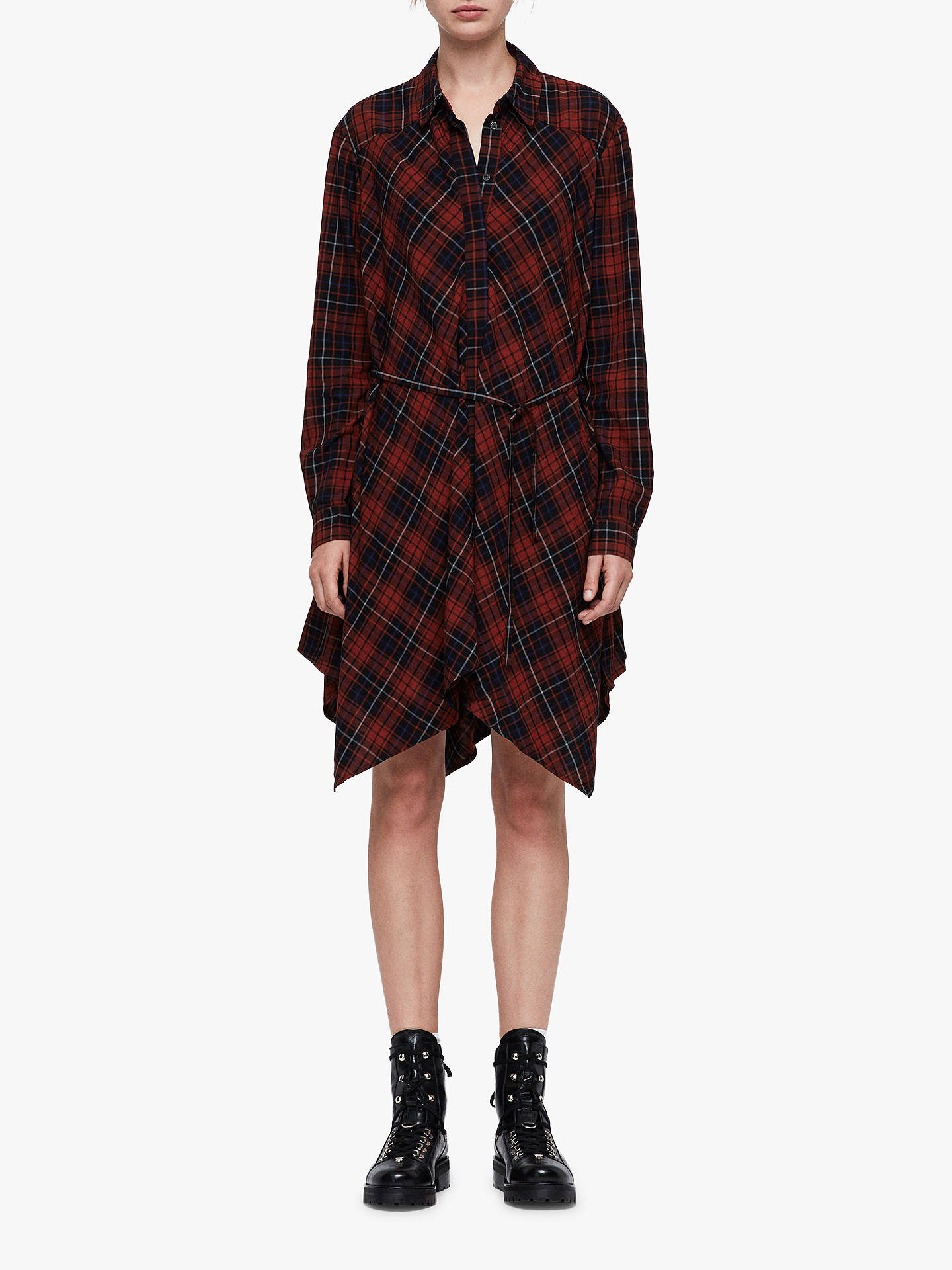 Buy AllSaints Tala Shirt Dress, Red, L Online at johnlewis.com