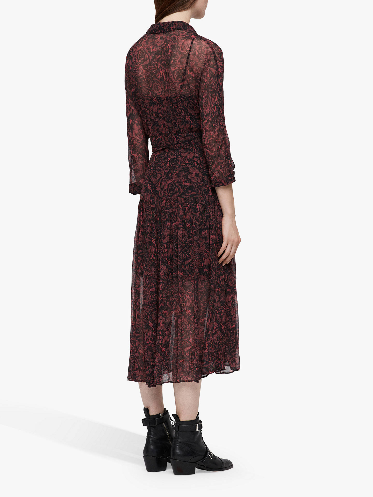 BuyAllSaints Eley Rosey Dress, Berry Red, 6 Online at johnlewis.com