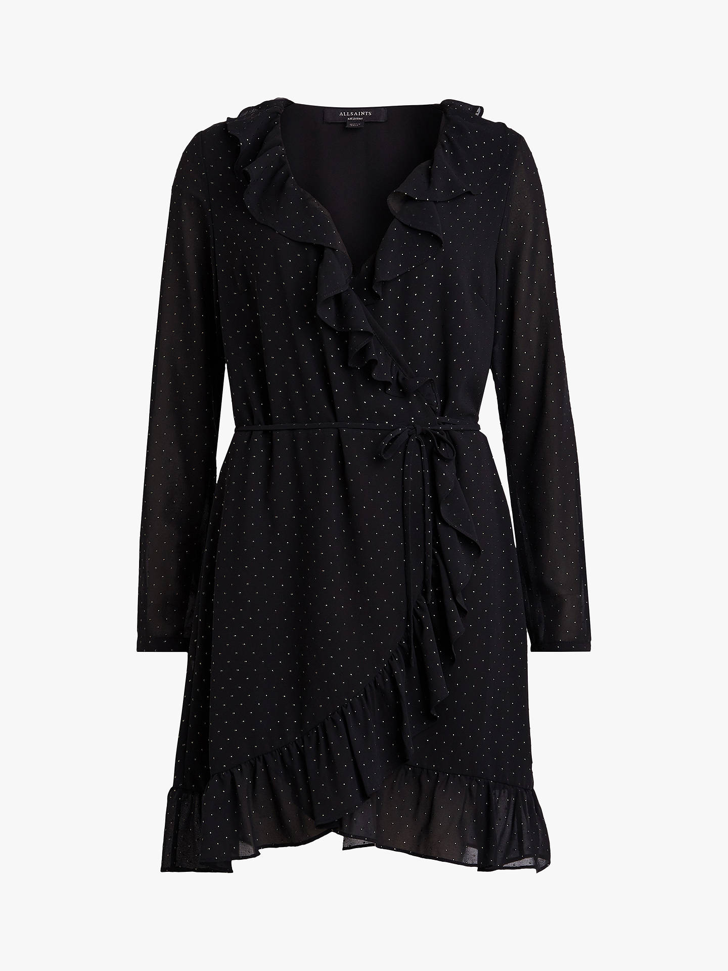BuyAllSaints Kiya Shimmer Dress, Black, S Online at johnlewis.com