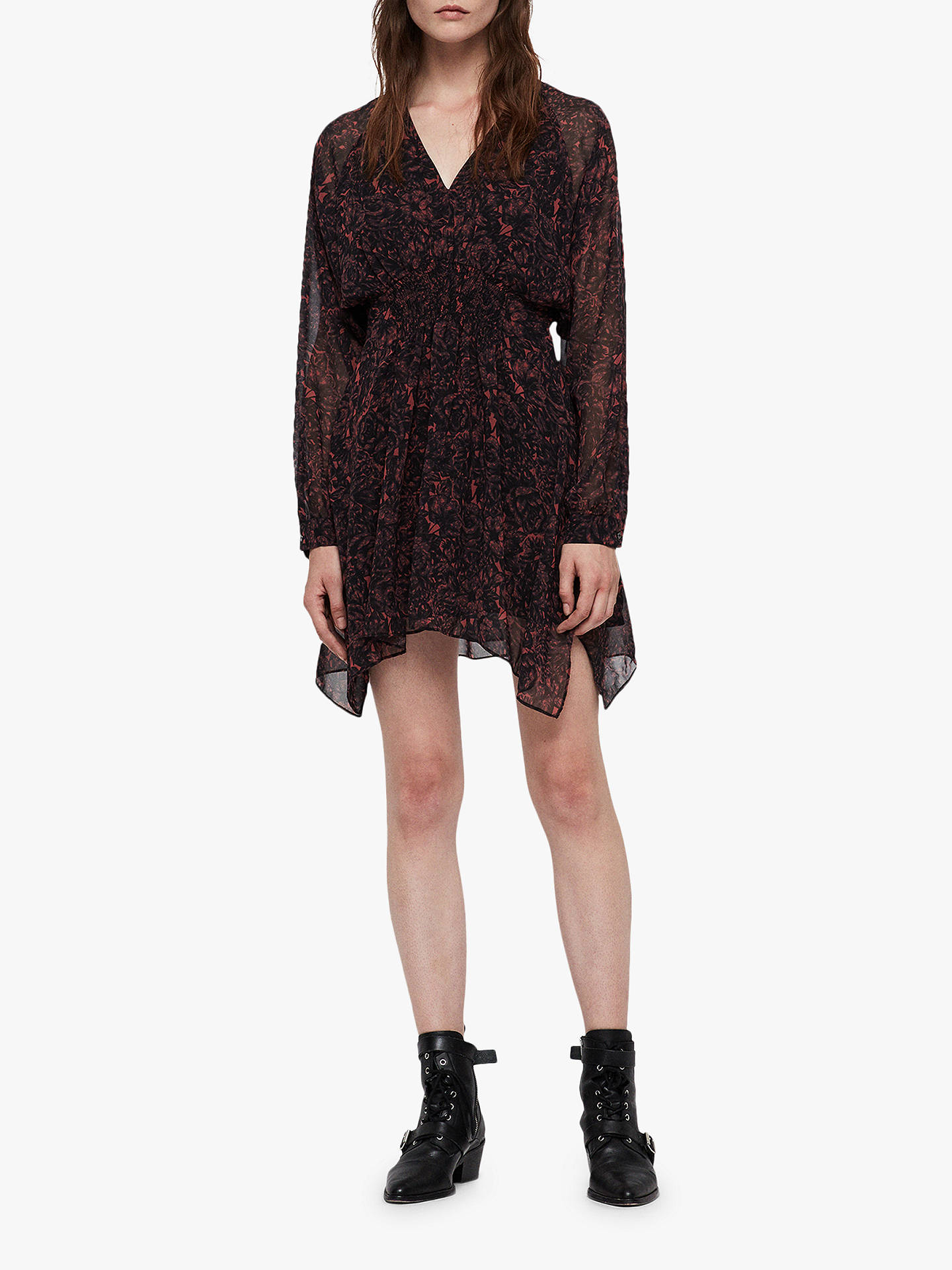 Buy AllSaints Nichola Rosey Dress, Berry Red/Multi, L Online at johnlewis.com