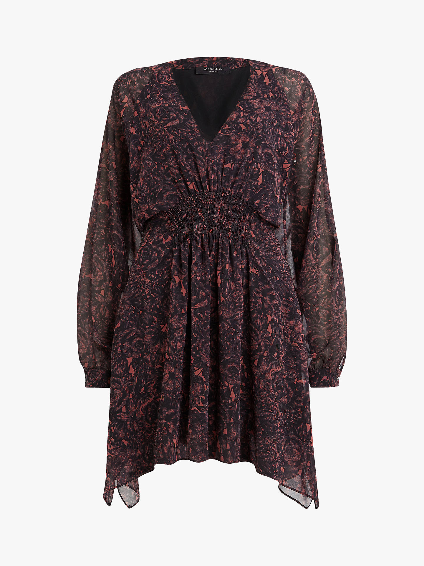 BuyAllSaints Nichola Rosey Dress, Berry Red/Multi, L Online at johnlewis.com