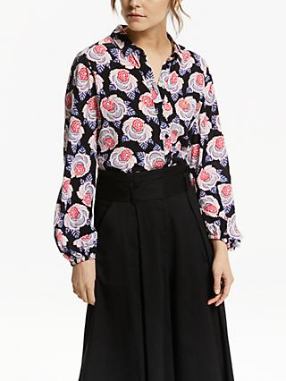 Somerset by Alice Temperley Retro Floral Blouse, Black