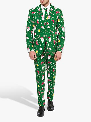 OppoSuits Men's Santa Boss Suit, Green / Multi