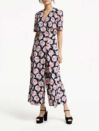 Somerset by Alice Temperley Lace Floral Print Jumpsuit, Black Print