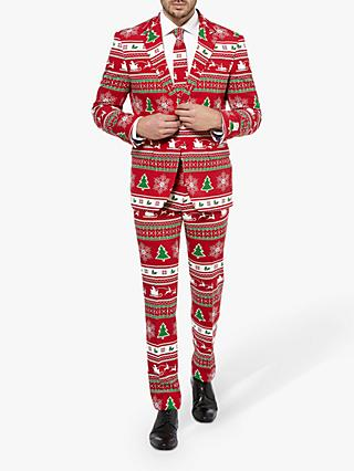 OppoSuits Men's Winter Wonderland Suit, Red / Multi