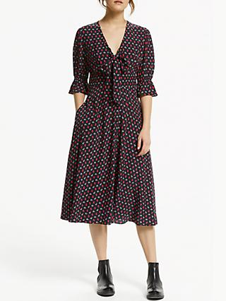 Somerset by Alice Temperley Tie Waist Midi Dress, Black Base