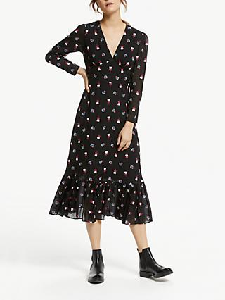 Somerset by Alice Temperley Floral Ruffle Hem Midi Dress, Black