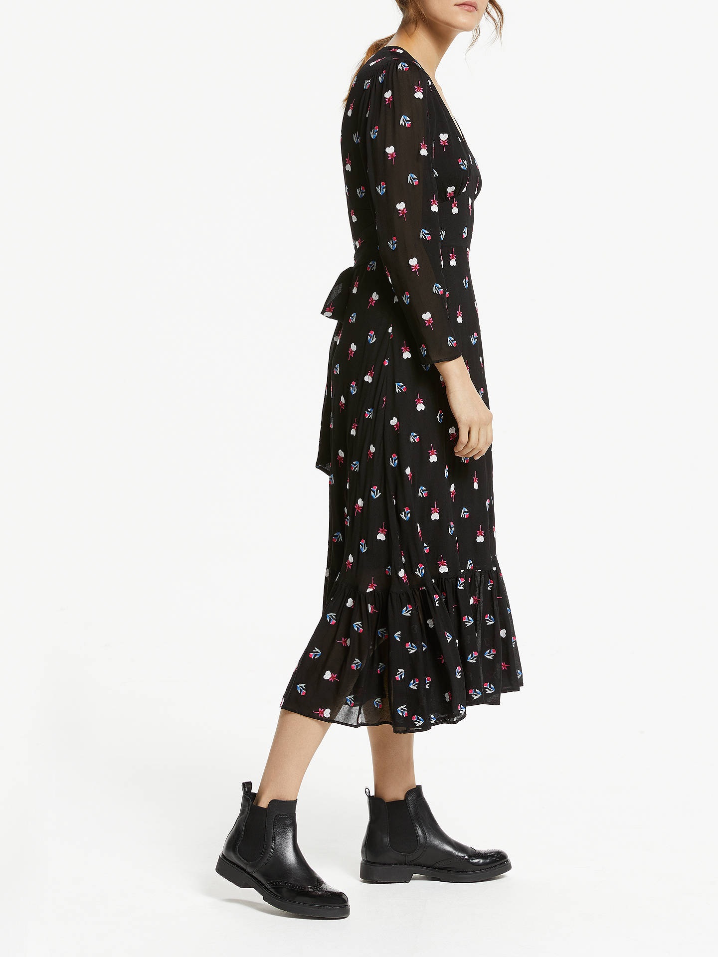 Buy Somerset by Alice Temperley Floral Ruffle Hem Midi Dress, Black, 8 Online at johnlewis.com