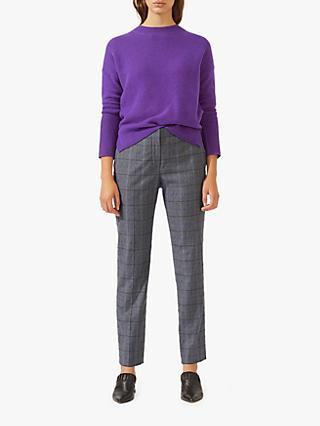 Jigsaw Heather Check London Trouser, Pale Grey