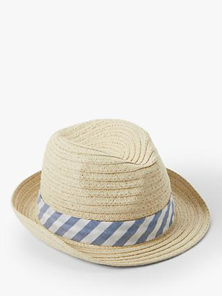 befe8243 John Lewis & Partners Baby's Straw Trilby Woven Hat, Natural