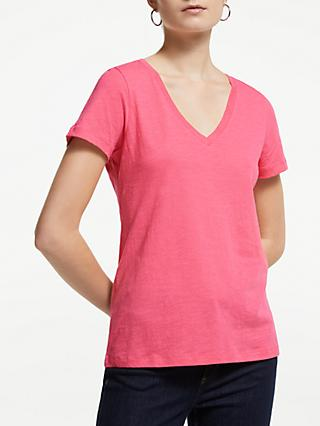 John Lewis & Partners V-Neck Cotton Slub T-Shirt