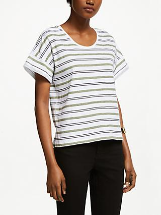 John Lewis & Partners Drop Sleeve Cotton Slub Stripe T-Shirt