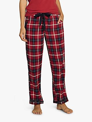 Fat Face Classic Check Lounge Trousers, Red