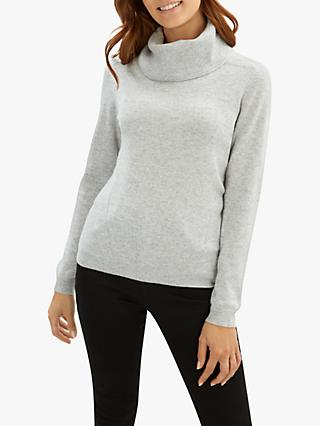 Jaeger Cashmere Cowl Neck Jumper, Grey