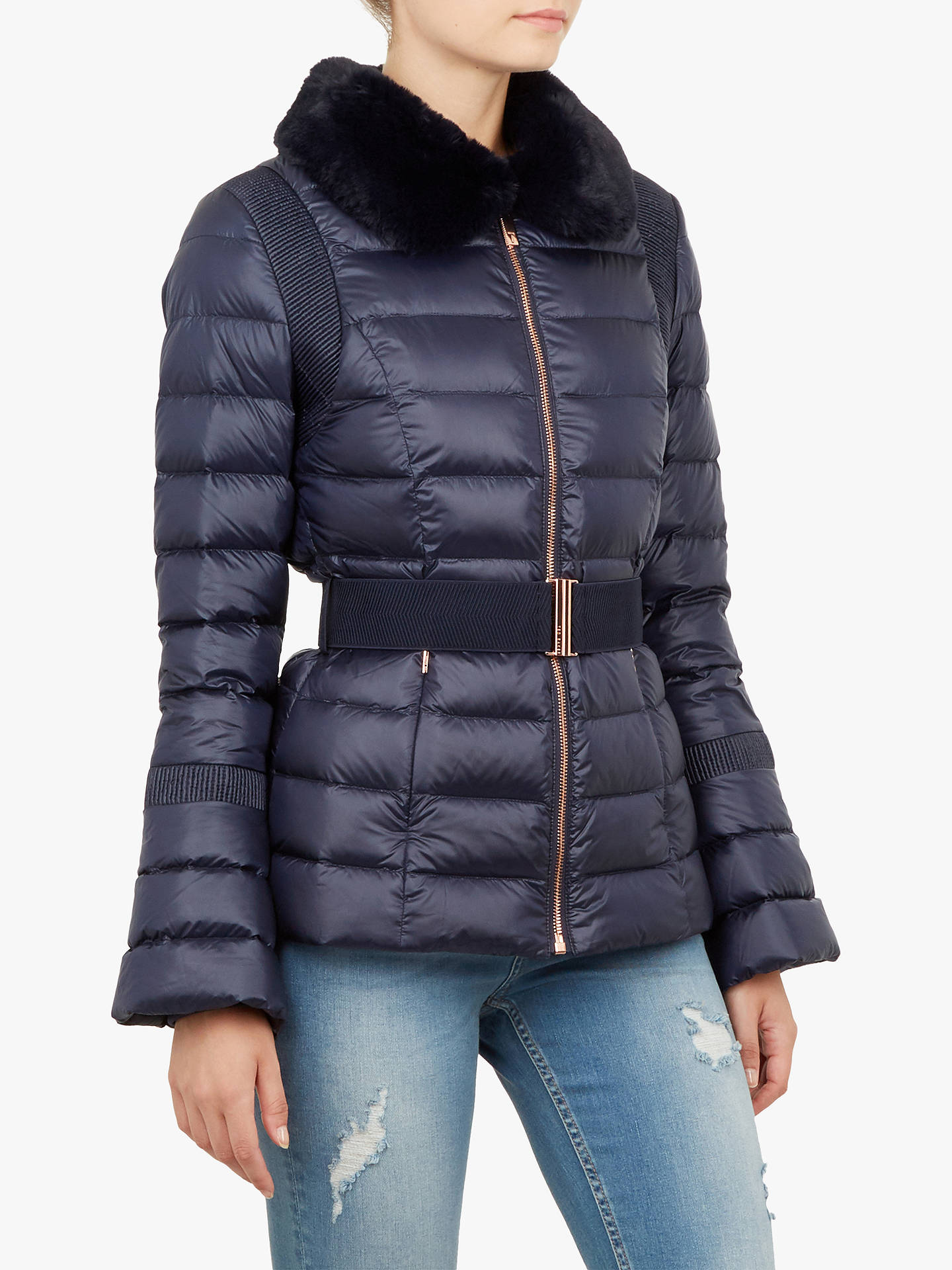 BuyTed Baker Yelta Quilted Down Jacket, Dark Blue, 2 Online at johnlewis.com