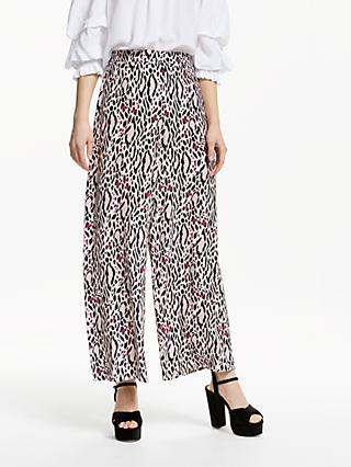 Somerset by Alice Temperley Leopard Print Wide Leg Trousers, Nude