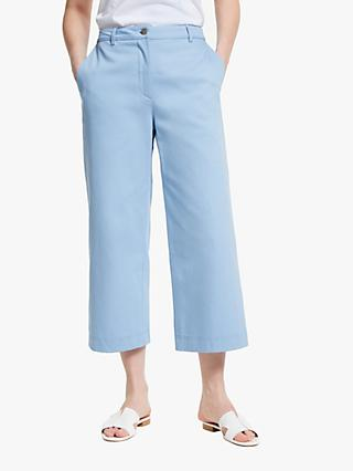 John Lewis & Partners Wide Leg Crop Cotton Twill Trousers