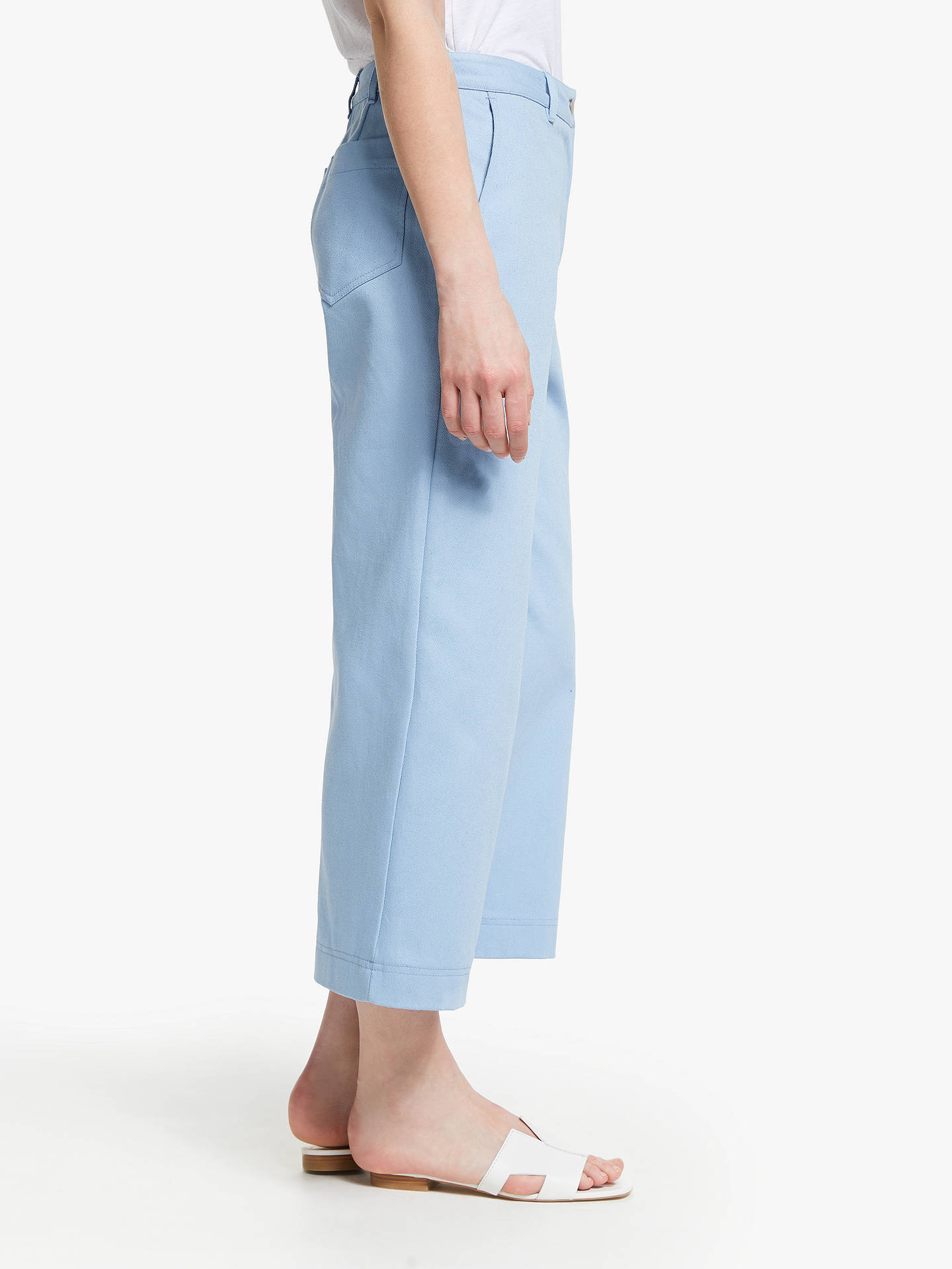 Buy John Lewis & Partners Wide Leg Crop Cotton Twill Trousers, Pale Blue, 8 Online at johnlewis.com