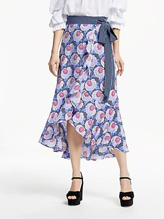 Somerset by Alice Temperley Stripe Floral Midi Skirt, Blue/Black