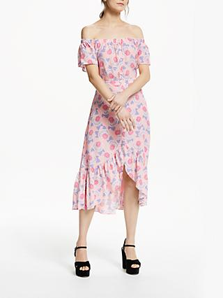 Somerset by Alice Temperley Off Shoulder Geometric Floral Midi Dress, Pink