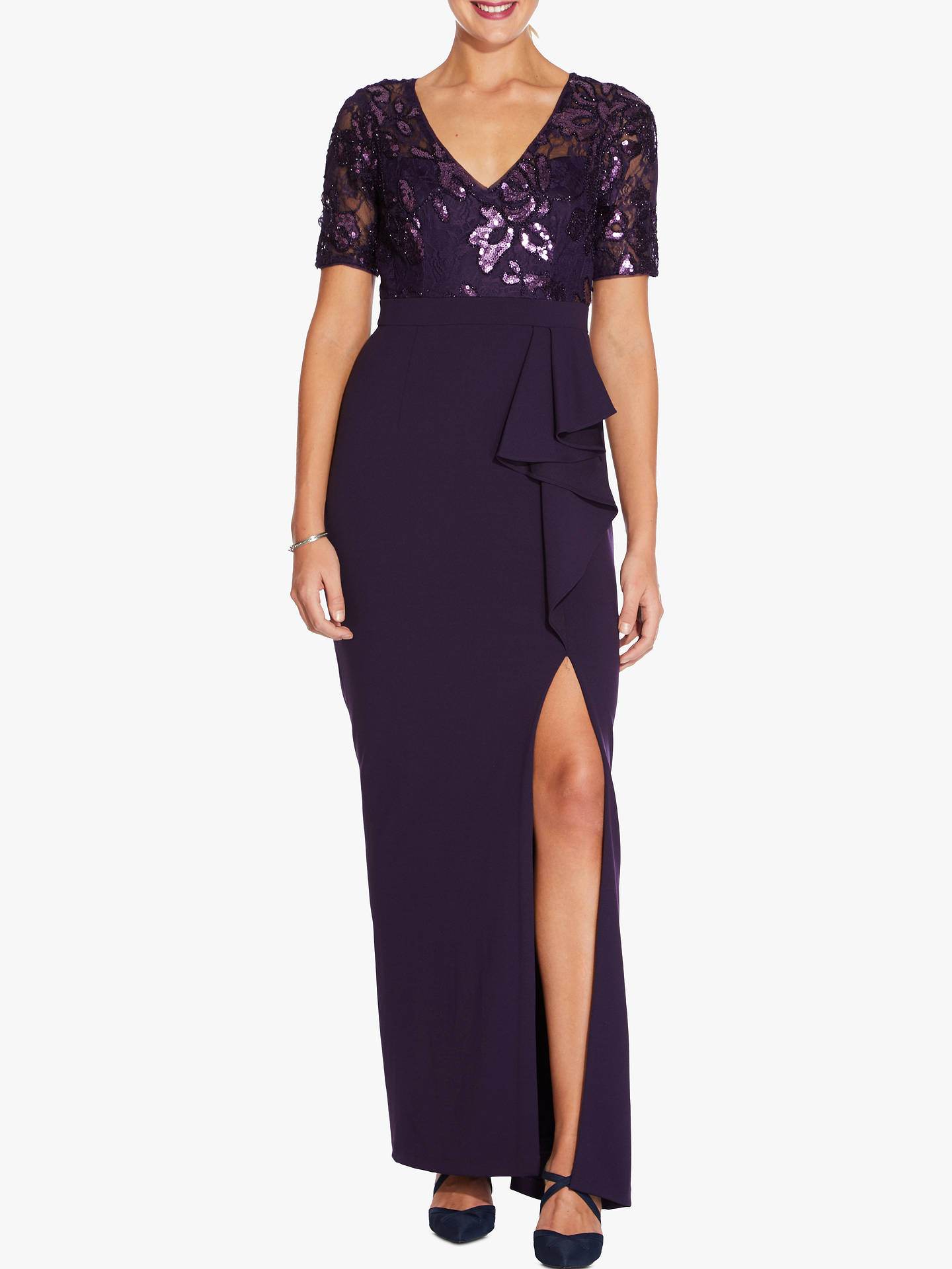 BuyAdrianna Papell Sequin Long Gown, Aubergine, 18 Online at johnlewis.com