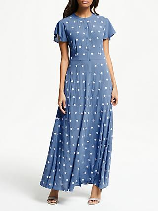Somerset by Alice Temperley Star Print Maxi Dress, Cornflower Blue