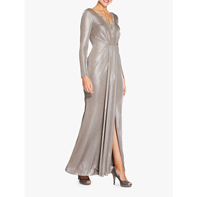 Adrianna Papell Foiled Jersey Maxi Dress, Silver