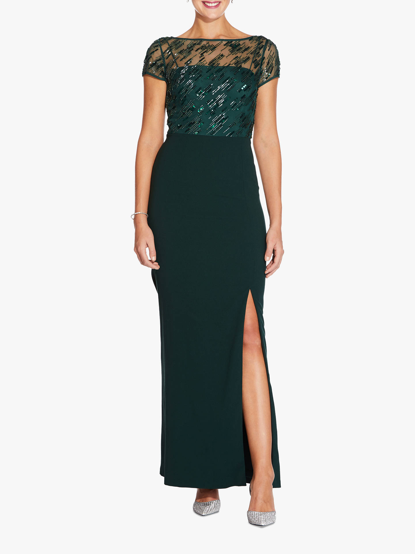 BuyAdrianna Papell Beaded Cap Sleeve Crepe Gown, Dusty Emerald, 10 Online at johnlewis.