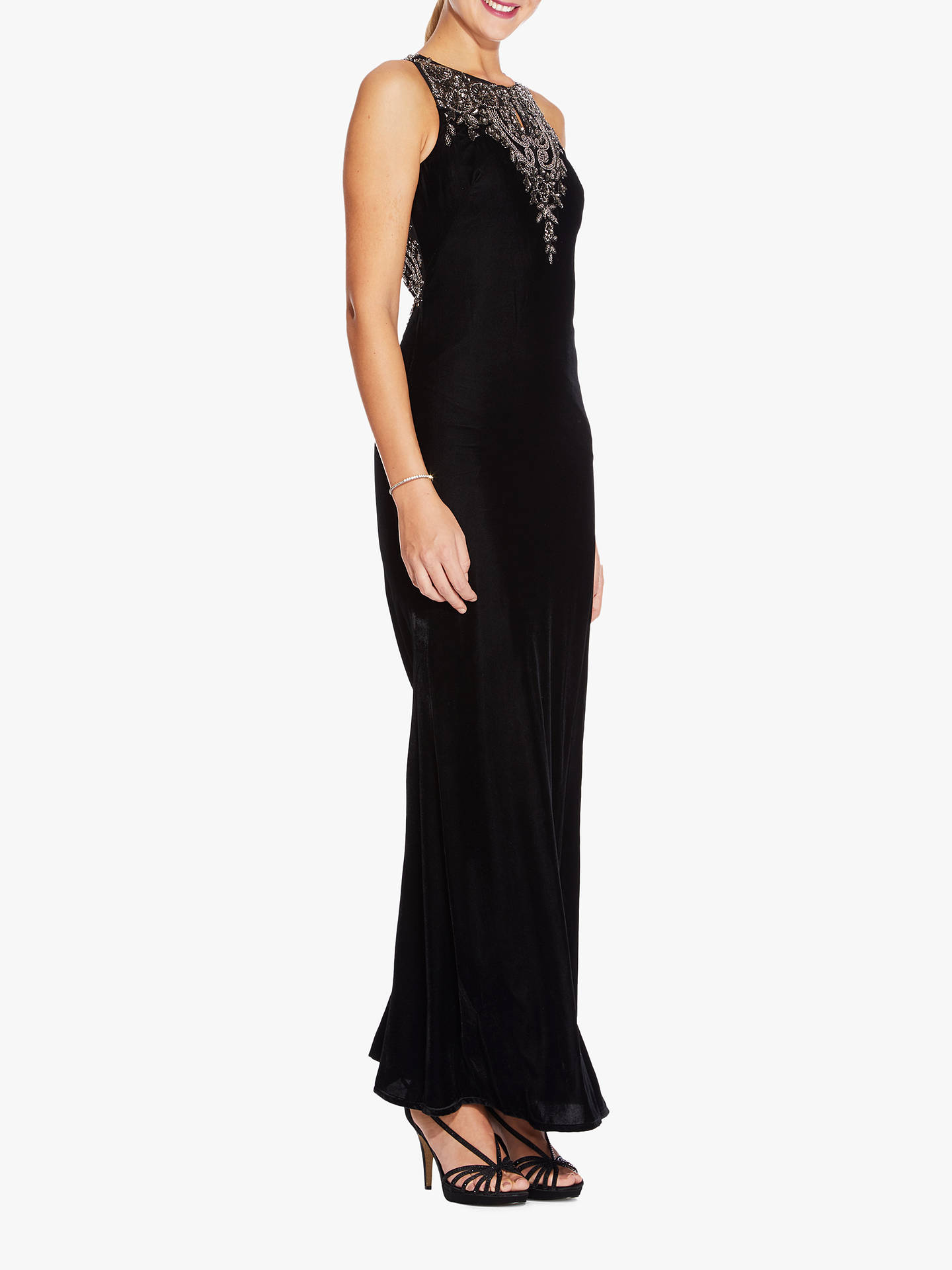 BuyAdrianna Papell Beaded Long Dress, Black/Mercury, 12 Online at johnlewis.com