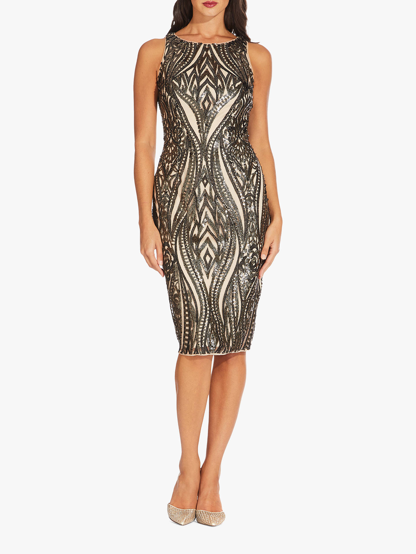 Buy Adrianna Papell Halter Short Dress, Black/Champagne, 6 Online at johnlewis.com