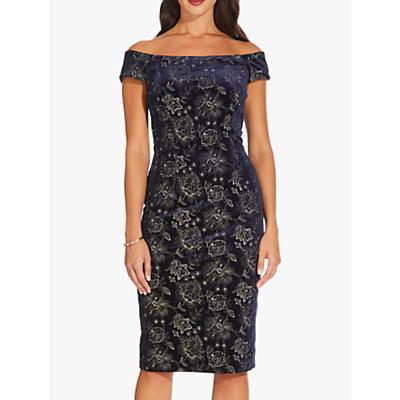 Adrianna Papell Short Velvet Dress, Navy
