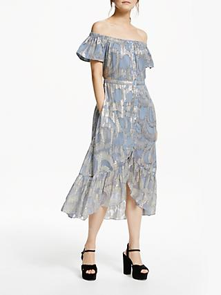 Somerset by Alice Temperley Jacquard Off Shoulder Midi Dress, Blue/Multi