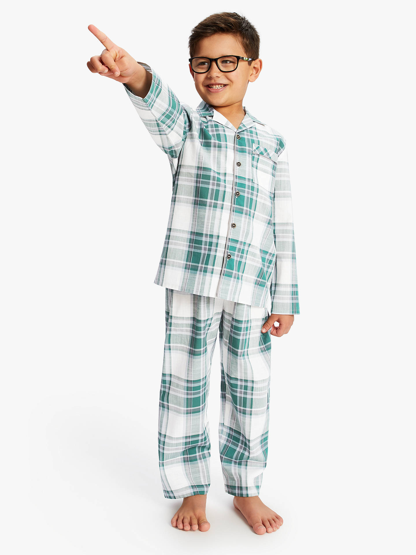 Buy Minijammies Boys' Olive Check Cotton Pyjamas, Green, 8-9 years Online at johnlewis.com