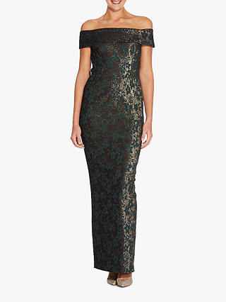 Buy Adrianna Papell Off Shoulder Jacquard Dress, Hunter Green/Gold, 6 Online at johnlewis.com