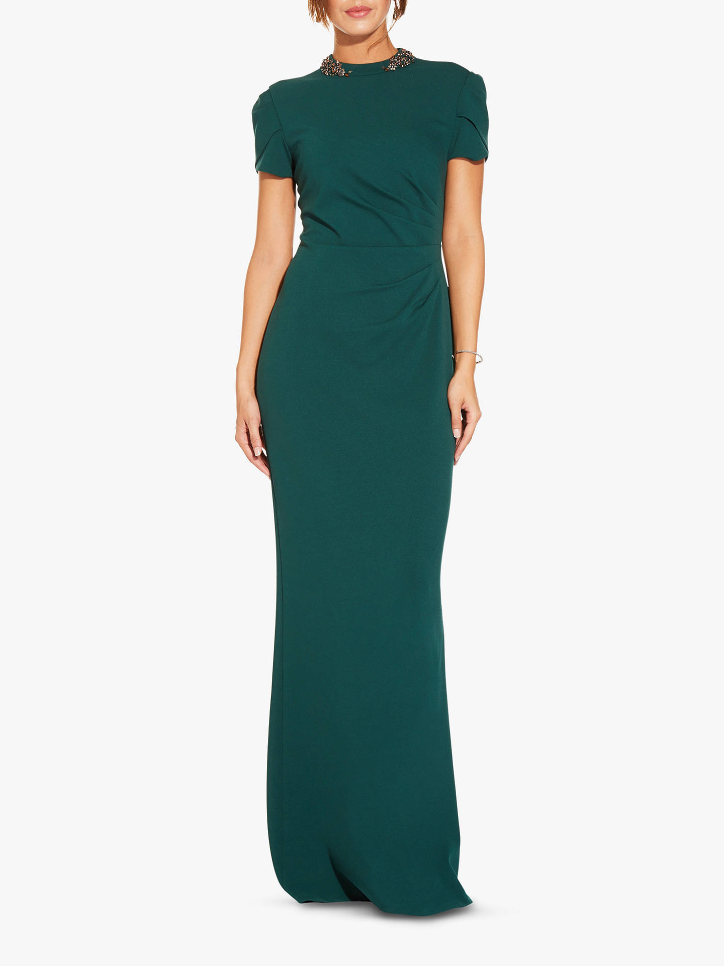 BuyAdrianna Papell Tulip Sleeve Crepe Dress, Dusty Emerald, 6 Online at johnlewis.com