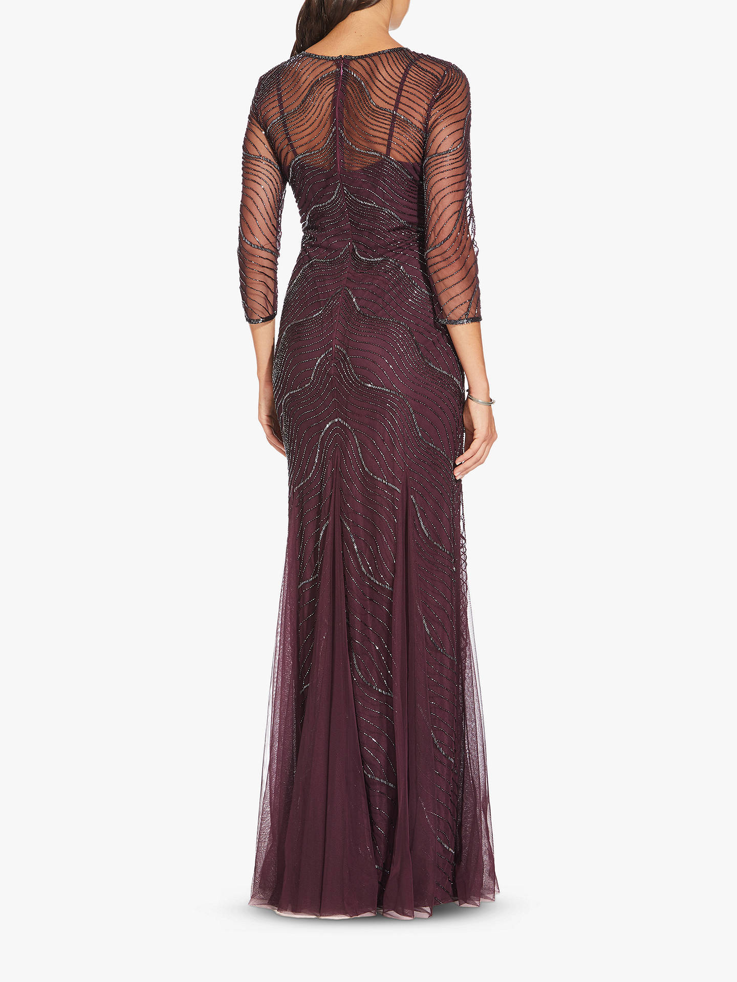 BuyAdrianna Papell Beaded Godet Gown, Night Plum, 8 Online at johnlewis.com