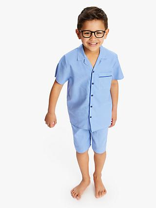 Minijammies Boys' Tile Print Shorty Pyjama Set, Blue