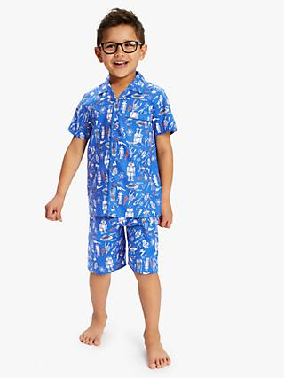 Minijammies Boys' Space Print Shorty Pyjama Set, Blue